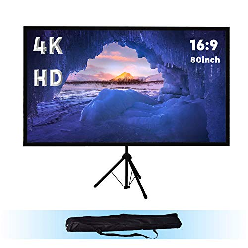 Stativ Leinwand für Heimkino und Büro | 4K HD | 80 Zoll | 177 x 100 cm | 16:9 | Gain 1,0 | schneller Auf- und Abbau | höhenverstellbar | Tragbar Leinwand mit softcase | 80