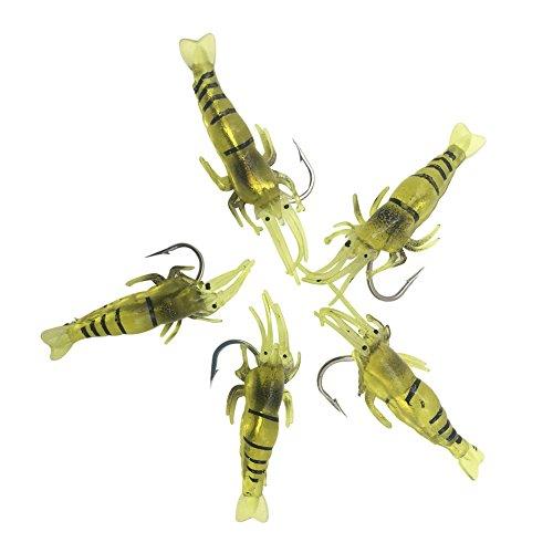 5pcs leurres souples en forme de crevette pour pêcher...