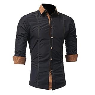 Herren Hemd mit Kontrasten Freizeit | ZEZKT-Herren Slim Fit Langarm Shirts Business Bügelleicht (L, Schwarz)