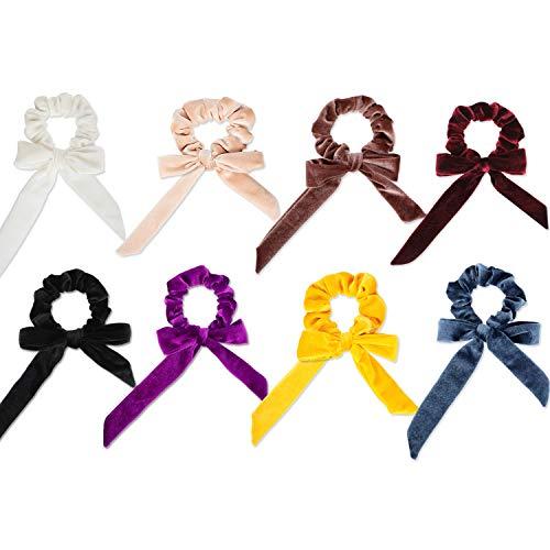8 Stück Samt Haargummis mit Bowknot Elastic Velvet Hair Ties Bow Hair Bands für Frauen und Mädchen, 8 Farben Stil Bow Tie