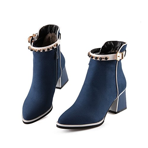 VogueZone009 Femme à Talon Correct Zip Pointu Bottes avec Passepoil à Diamant Verre Bleu