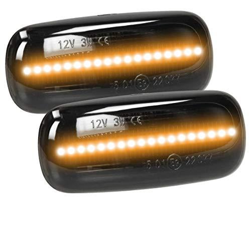 ECD Germany 2 x Indicatore Laterale LED - 12 V - Nero - con marchio E9 - Tecnologia Plug & Play - Indicatore Luminoso Indicatore di Direzione LED Giallo Arancione Lampeggiante per Auto