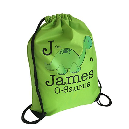 personalised-green-kids-dinosaur-drawstring-swimming-school-pe-bag-for-boys-girls