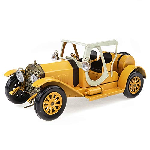 Ferro Vintage Car Model Vintage Car Model Home Decoration Fatti a Mano in Metallo Ferro Car Toys (Color : Yellow)