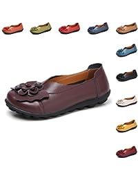 Gaatpot Mujer Mocasines de Cuero Verano Vintage Flores Loafers Zapatos  Casual Respirable Planos de Deslizamiento Zapatos 13db8674ccb0b