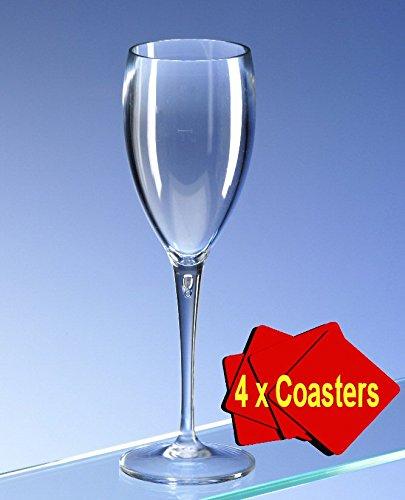 6x PREMIUM Champagner Flöte Echtglas Optik unzerbrechlichem Polycarbonat. Ideal für Picknicks Outdoor Pool, BBQ, Garten. Waschbar und wiederverwendbar. Spülmaschinenfest. bieten 6Stück Gläser mit 4x Aios Untersetzer