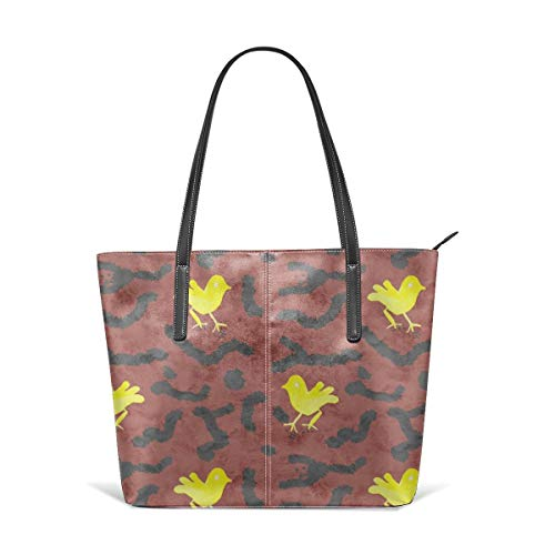 Terra Cotta Top (Women's Soft Leather Tote Shoulder Bag Tribal Yellow Bird Terra Cotta Fashion Handbags Satchel Purse)