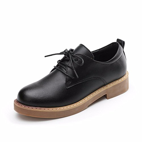 Moonwalker Scarpe Stringate Basse Oxford Donna (EUR 39 ,Nero)