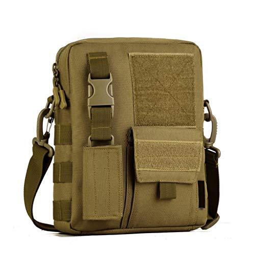 Huntvp® borsa a tracolla uomo sportivo borsetta militare per campeggio escursionismo ciclismo viaggio trekking porta smartphone chiave denaro (marrone)