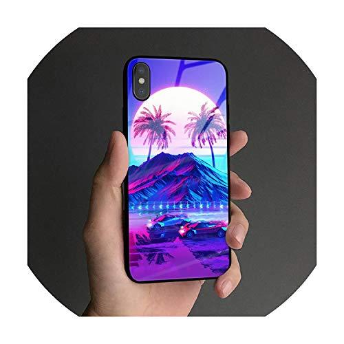 Retro-Welle Futurismus Weiche Silikon-ausgeglichene Glas-Telefonkasten-Abdeckung Fall für iPhone 5 5S SE 6 6S 7 8 Plus X Xr Xs 11 Pro Max, für iPhone XR, AE 2537, gehärtetes Glas Fall
