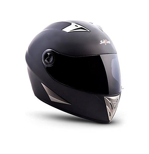 SOXON ST-550 Fighter · Helmet Motorrad-Helm Integral-Helm Cruiser Scooter-Helm Sport Sturz-Helm Urban Roller-Helm · ECE zertifiziert · inkl. Sonnenvisier · inkl. Stofftragetasche · Schwarz · M (57-58cm)