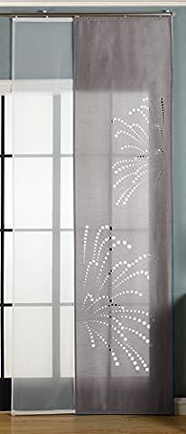 2er-Pack Schiebegardine Flächenvorhang Rodez Lasercut Wildseide Optik Voile , Grau, 245x60 cm (HxB) inkl. Paneelwagen und Beschwerungsstangen, 165640