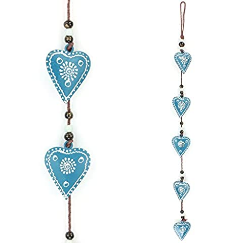 LOUDelephant Hanging Mobile Decoration String of Hearts - Teal (Brown String)
