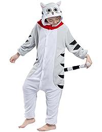 Pijama Gato Atigrado, Franela Onesie Animal Cosplay para Niños entre 9,0 y 1,46 m Unisex Kigurumi