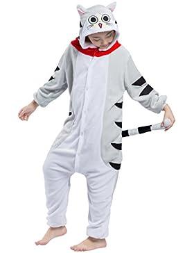 Pijama Gato Atigrado, Franela Onesie Animal Cosplay para Niños entre 1,14 y 1,46 m Unisex Kigurumi