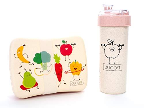 DUOO!T Bio Bento Box Lunchbox Set für Kinder - Jungen & Mädchen   Bambus Brotdose + Trinkflasche aus Weizenstroh   BPA-frei   100% Biologisch abbaubar & Recyclebar   Schule (pink)