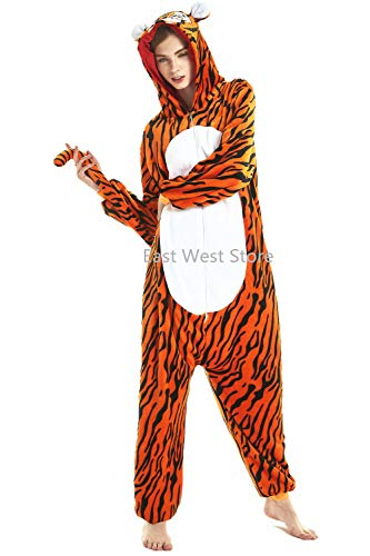 Adulto e bambino unisex unicorno tigre leone volpe tutina animale cosplay pigiama costume di carnevale di halloween fancy dress loungewear (tiger, s altezza di 145-155 cm)