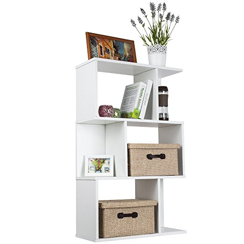 TOP-MAX Wood Bookshelf Shelves S Shape Storage Display Shelving 3 Tiers Bookcase Unit High Gloss Room Divider Shelf CD DVD Book Holder Rack White for Bedroom Living Room