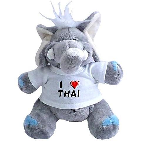 Elefante de peluche (juguete) con Amo Thai en la camiseta (nombre de pila/apellido/apodo)