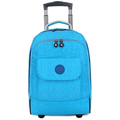 C-Xka Rolling Schultasche, Rad-Laptop-Rucksack College-Rucksack, Business-Rucksack, Reiserucksack Roll Roll-Dekompressions-Rucksack (Farbe : Hellblau)