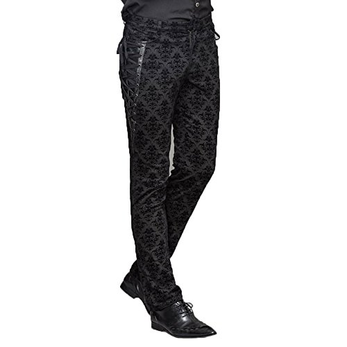Devil Fashion Men Court Lange Hosen Gothic Jacquard Side Lace Casual Hosen, L