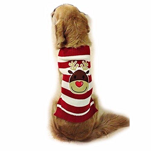 Imagen de freebily disfraz de navidad jersey rayas para perro mascota gato ropa traje de fiesta perrito cachorro reno xxl