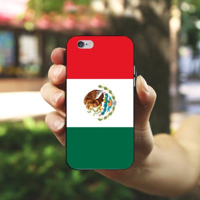 Apple iPhone 5s Housse Étui Protection Coque Mexique Drapeau Ballon de football Housse en silicone noir / blanc