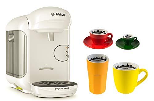 Bosch TASSIMO Vivy 2 + 4tlg. City Range Set Kaffee Becher Espresso Tasse Latte Macchiato Glas (Weiss) - 2 Becher Kaffeemaschine