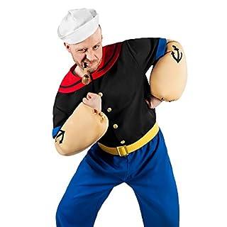 Popeye Comic Seemann Kostüm 6-teilig mit Hemd, Hose, Muskel-Armen und Matrosenmütze (XXL)