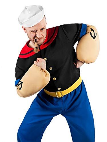 Popeye Comic Seemann Kostüm 6-teilig mit Hemd, Hose, Muskel-Armen und Matrosenmütze (L)