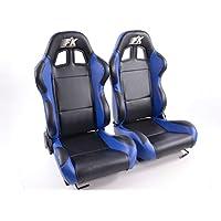 Juego de asientos deportivos para coche Boston de FK-Automotive, de piel sintética, color negro y azul