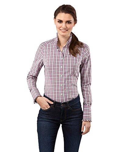Bluse, modern-fit, Rüschenkragen, kariert - bügelfrei,38,pink