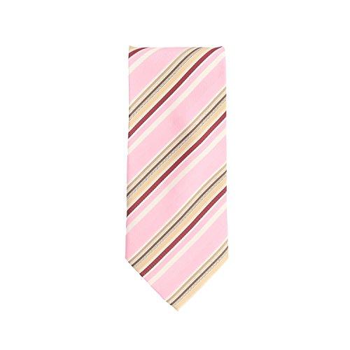 Basic Ties classico cravatta di Polyester rosa oro bianco strisce 9 (Oro A Strisce Cravatta)