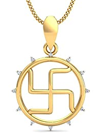 KuberBox 18k (750) Yellow Gold And Diamond Enclosed Swastik Pendant