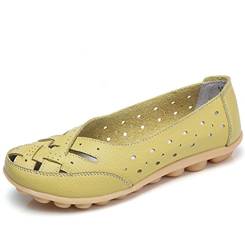 LEIT YFF Chaussures Femmes Chaussures Plates Chaussures Occasionnels Creux Apple Green