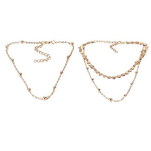 Kostüm Zubehör Und Ball Kette (Tpocean Dual Layer Sequin Kette Halskette Gold Perlen lange Choker Halskette, 2)
