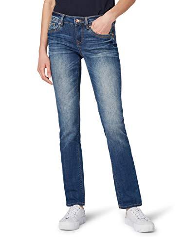 TOM TAILOR für Frauen Jeanshosen Alexa Straight Jeans Used Mid Stone Blue Denim, 29/30