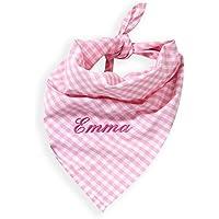 Halstuch mit Namen Vichy Karo rosa mit Namen (Geschenkidee für Babys, Mädchen)