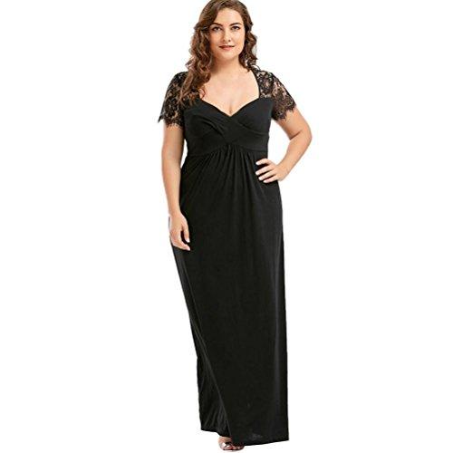 Longra Damen Spitzekleid Plus Size Schwarzes Kleid Kurzarm Sommerkleider Knielang Kleid Damen V-Ausschnitt langes Maxi Kleid Elegant Festliche Cocktailkleid Abendkleid Formale Kleidung (Black, 5XL)