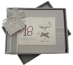 Idea Regalo - White Cotton Cards, Album di compleanno fatto a mano, max. 60 foto da 7 x 5 cm, Bianco, 18 anni