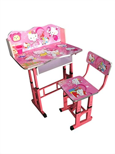 FF Hello Kitty Pink Imported Kids Study Table & Chair Set Suitable for Kids Age 3-10 Years, By FURNITURE FIRST