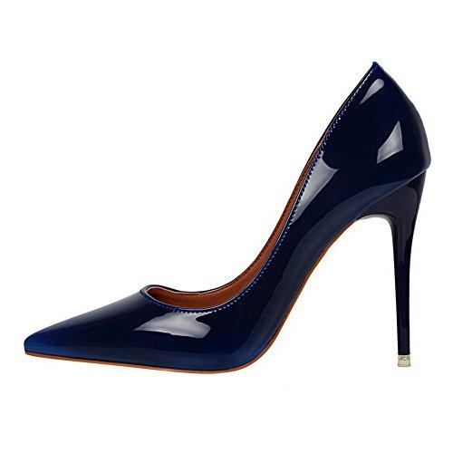 AalarDom Femme Matière Souple Couleur Unie Stylet Pointu Chaussures Légeres Bleu-Verni
