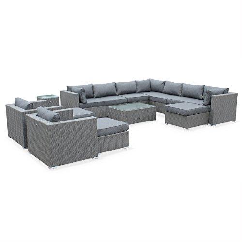 Alice's Garden - Conjunto de jardin ratan sintetico - Gris, cojines gris - 13 plazas, 2 módulos centrales, 2 sofás, 1 módulo en esquina, 2 sillónes individuales, 1 mesa baja, 1 Mesa auxiliar, 3 reposapiés grandes - TRIPOLI