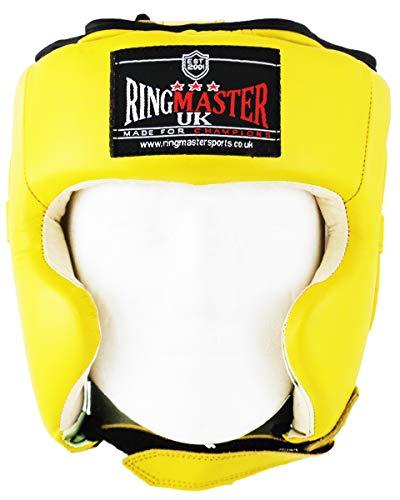 Ringmaster UK Casco Protector para Boxeo Piel Amarillo, Hombre Mujer, Amarillo