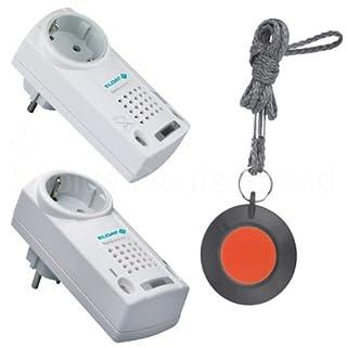 Pflegeruf-Set / Hausnotruf / Senioren-Hausalarm / Senioren-Sicherheitspaket 10 - für höhere Reichweiten (mit Funk-Halsbandsender und Steckdosen-Empfänger mit Quittierungsfunktion)