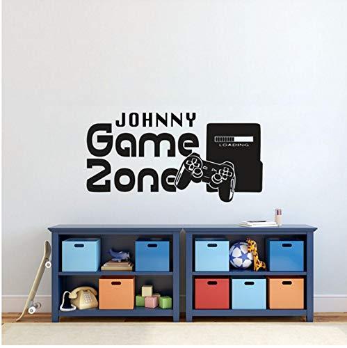 Lvabc Gamer Wandaufkleber D Name Spiel Zone Wandtattoo Videospiel Controller Tapete Kinder Schlafzimmer Vinyl Wandkunst Aufkleber 57X29 Cm