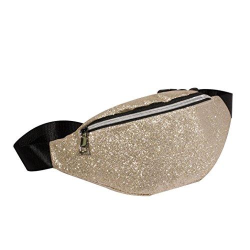 Gusspower Deportes Bolsa Ocasional Cintura Paquete Cintura Bolso Color sólido Lentejuelas Regalo de Navidad (Beige)