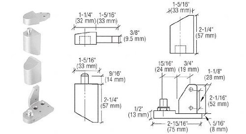 Offset Satin (CRL Offset Satin Aluminum Right Hand Pivot Set 1/8 Recessed by C.R. Laurence)