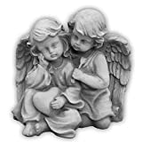 Wunderschönes massives Engelpaar aus Steinguss frostfest Grabdeko Raumdeko