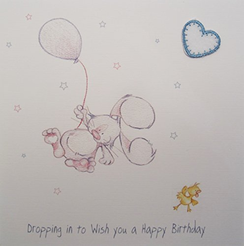 White Cotton Cards Dropped on a Birthday Wish You Card Balloons with a Coney Figure